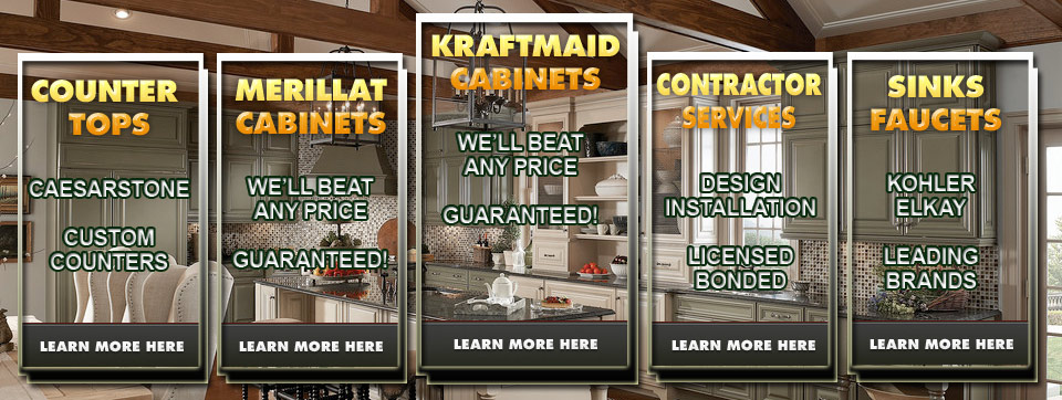 kitchen cabinets from Merillat and KraftMaid with counter tops and kitchen contractor services